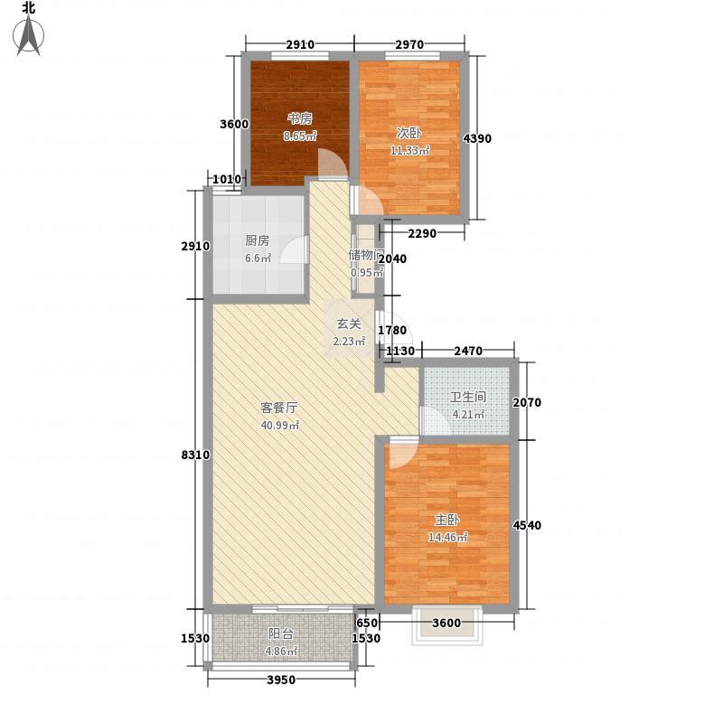 鹿港小镇花园125.00㎡C户型3室2厅2卫1厨