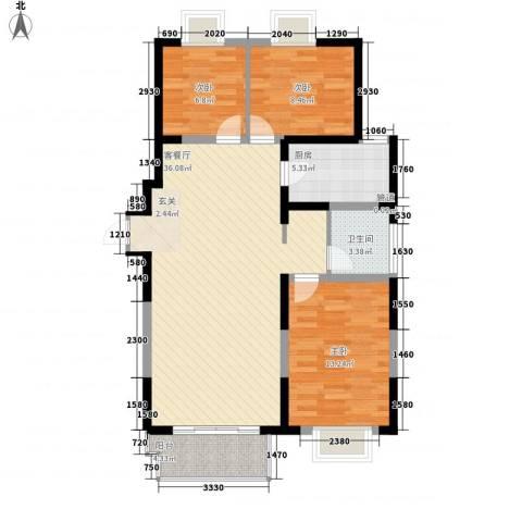江南文枢苑3室1厅1卫1厨115.00㎡户型图