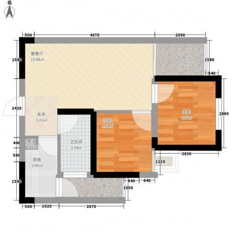 七里香榭2室1厅1卫1厨57.00㎡户型图