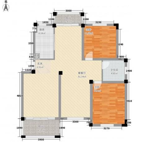 新港名兴花园2室1厅1卫1厨123.00㎡户型图