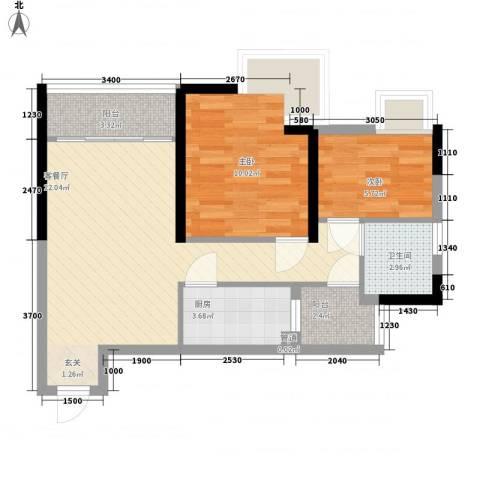 翠城花园二期2室1厅1卫1厨58.19㎡户型图
