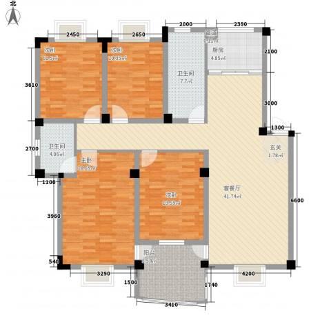 扬子佳竹苑4室1厅2卫1厨172.00㎡户型图