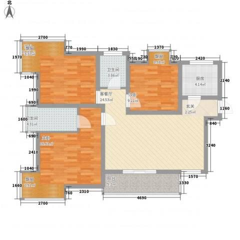 天正银河湾3室1厅2卫1厨116.00㎡户型图