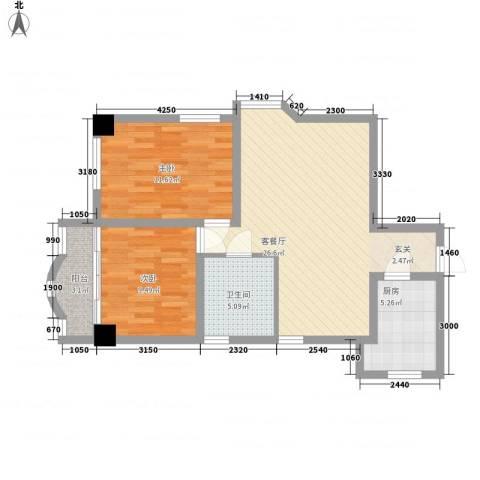 裕丰大厦2室1厅1卫1厨89.00㎡户型图