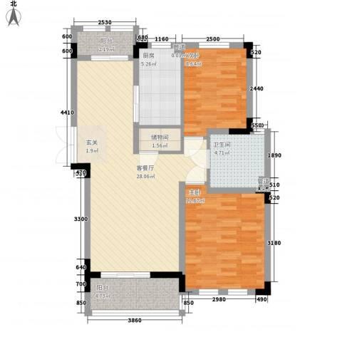 加州洋房2室1厅1卫1厨96.00㎡户型图