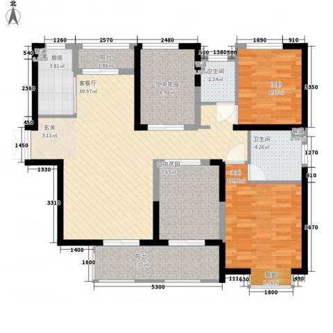 中环城紫荆公馆2室1厅2卫1厨124.00㎡户型图