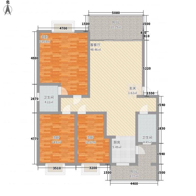 绿海星城143.77㎡朝阳园地户型3室2厅2卫1厨