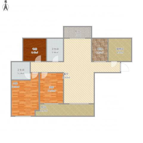 弘建一品3室1厅2卫1厨159.00㎡户型图