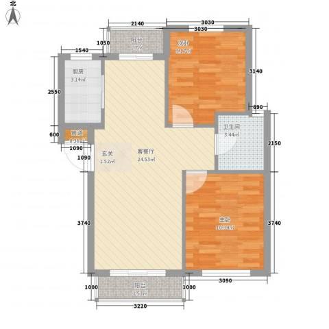 新港假日2室1厅1卫1厨78.00㎡户型图