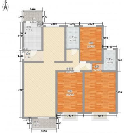 元一时代花园3室1厅2卫1厨170.00㎡户型图
