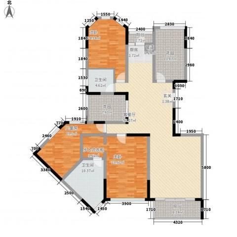 万科金域华庭3室1厅2卫0厨187.00㎡户型图