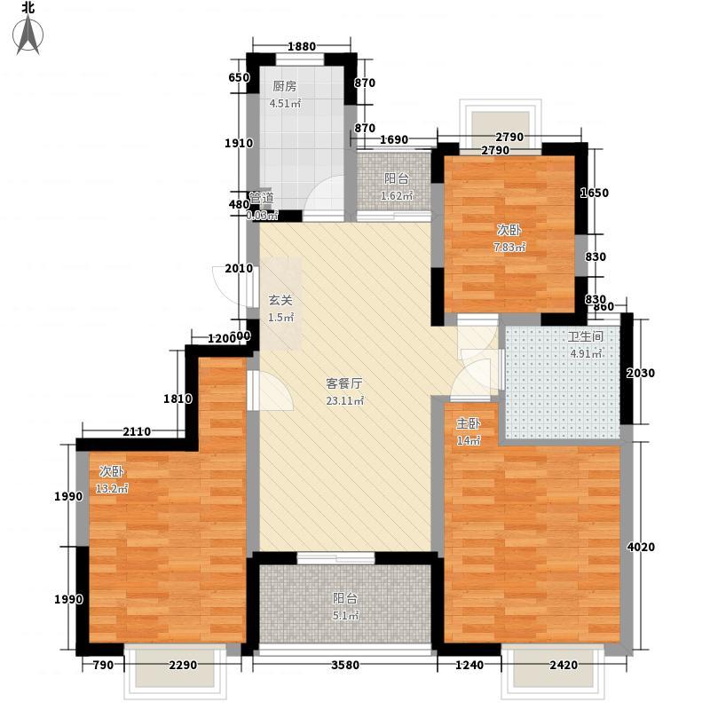 信达水岸茗都户型图21户型三室两厅一卫 3室2厅1卫1厨