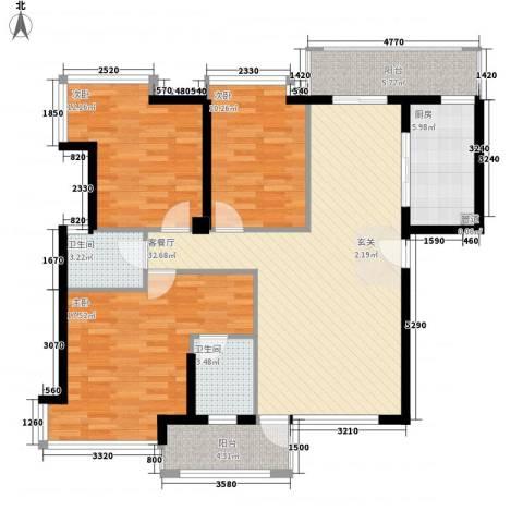 大溪地3室1厅2卫1厨135.00㎡户型图