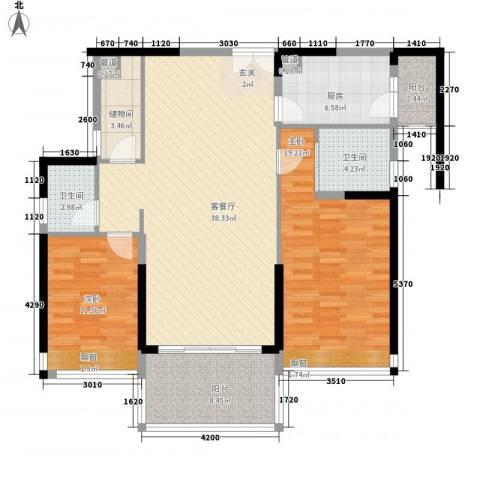 凯名轩2室1厅2卫1厨360.00㎡户型图