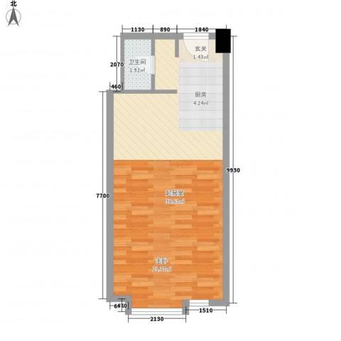 帝玖商业中心1卫0厨59.00㎡户型图