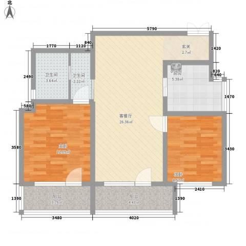 晏园凤凰汇2室1厅2卫1厨96.00㎡户型图