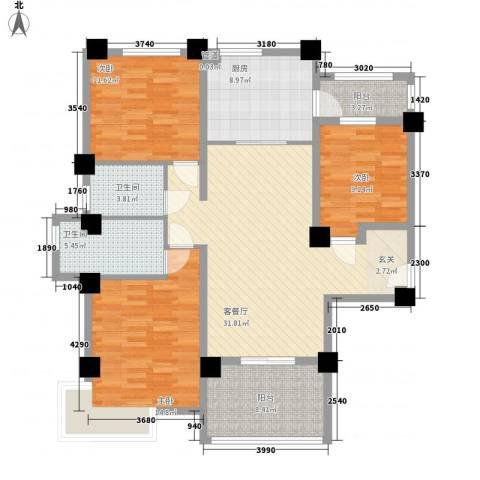 安阳碧桂园3室1厅2卫1厨125.00㎡户型图
