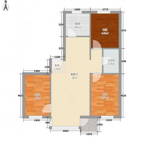 新港假日3室1厅1卫1厨90.00㎡户型图
