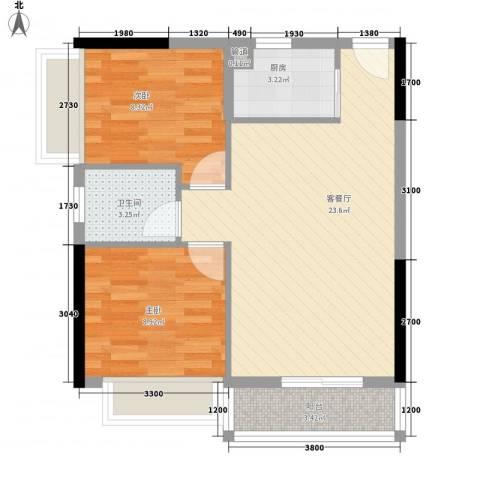 时尚岛蓝钻2室1厅1卫1厨72.00㎡户型图