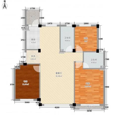 钰桥中央庭院3室1厅2卫0厨124.00㎡户型图