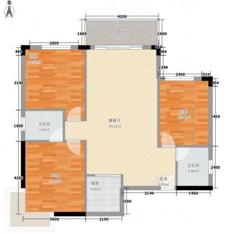 梦园小区3室1厅2卫1厨184.00㎡户型图