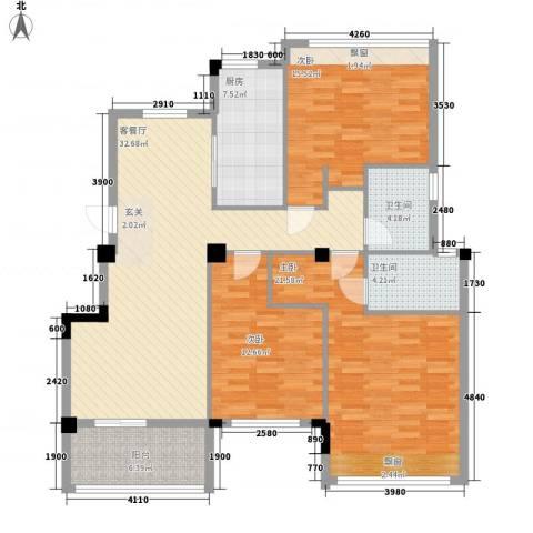 观澜御�台3室1厅2卫1厨126.00㎡户型图
