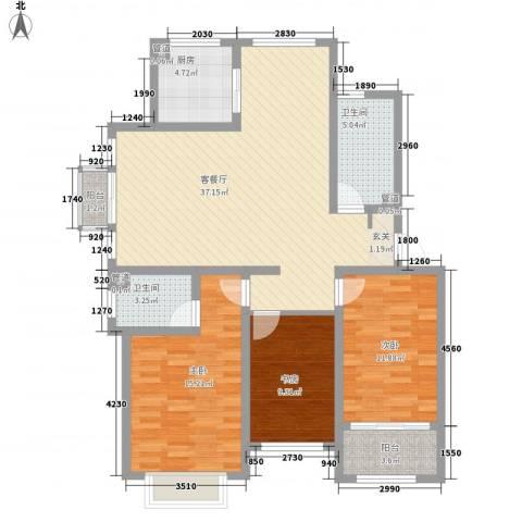 颐顺园3室1厅2卫1厨114.00㎡户型图