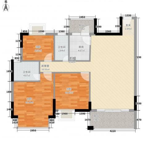 康乐大厦3室0厅2卫1厨88.00㎡户型图