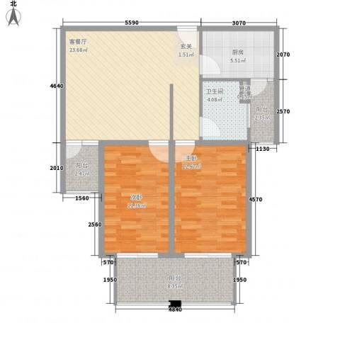 远航未来城2室1厅1卫1厨100.00㎡户型图