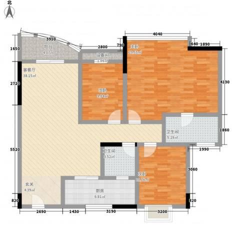 蔚蓝星湖三期3室1厅2卫1厨104.24㎡户型图