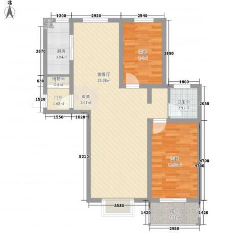 福馨景苑2室1厅1卫1厨79.35㎡户型图