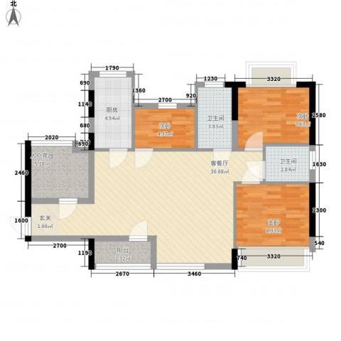 广电江湾新城3室1厅2卫1厨101.00㎡户型图