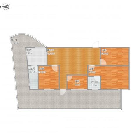 富怡三区4室1厅2卫1厨191.00㎡户型图