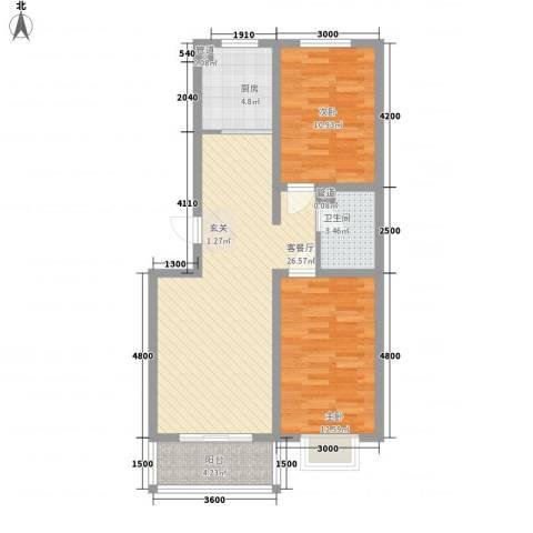 公元大道领誉2室1厅1卫1厨72.59㎡户型图