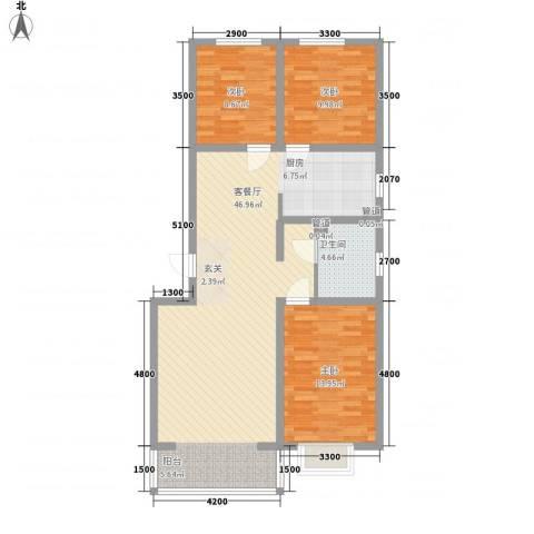 公元大道领誉3室1厅1卫0厨95.62㎡户型图