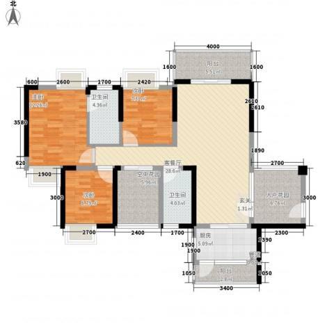 三屯花园3室1厅2卫1厨89.54㎡户型图