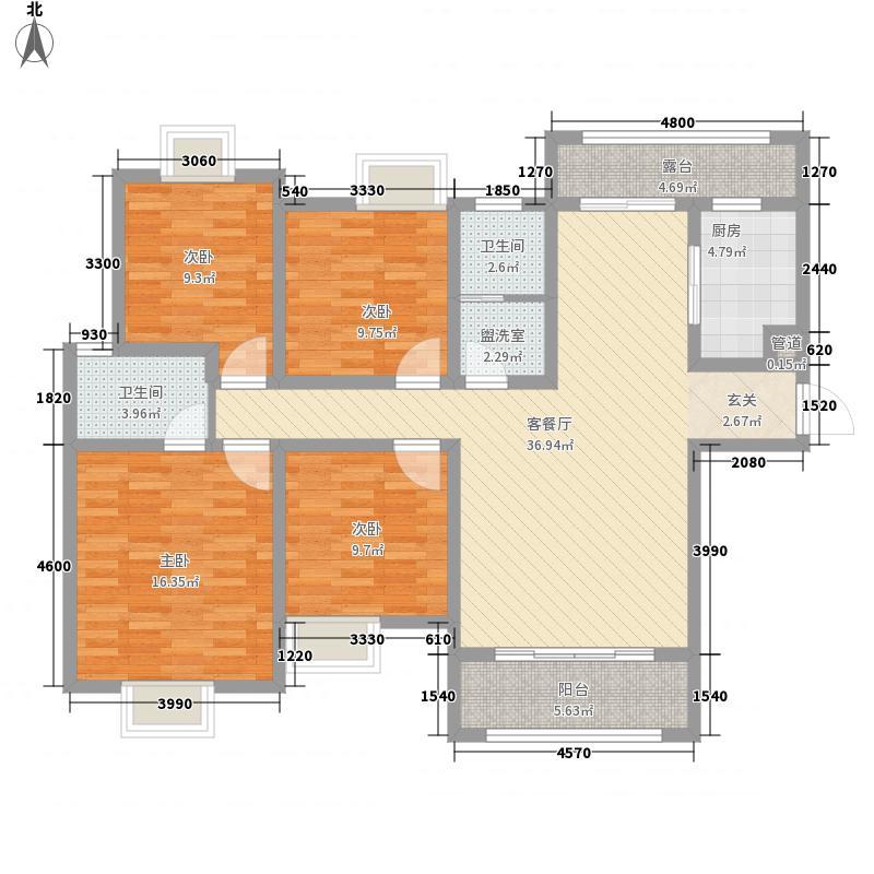 广泽・水映城155.11㎡F1户型4室2厅2卫1厨
