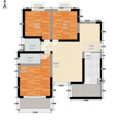 明坊3室1厅2卫1厨115.00㎡户型图