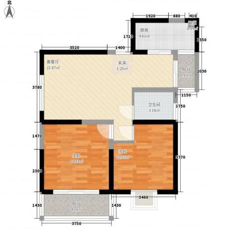 明坊2室1厅1卫1厨86.00㎡户型图