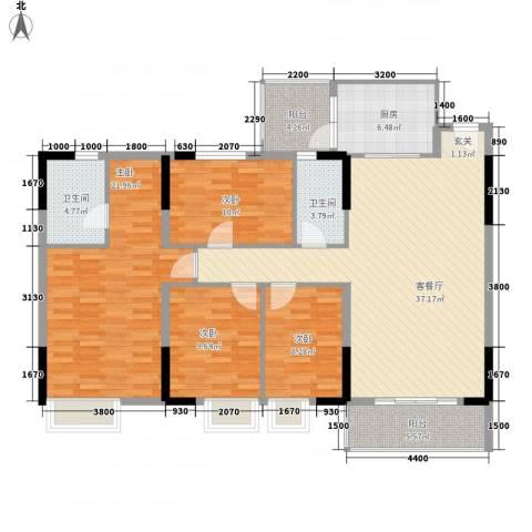 新东方花园4室1厅2卫1厨118.00㎡户型图