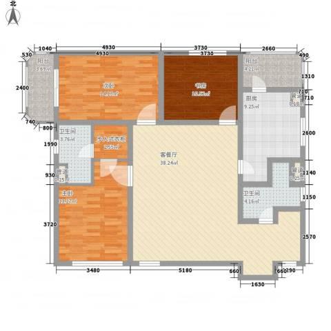 银亿徐汇酩悦3室1厅2卫1厨150.00㎡户型图