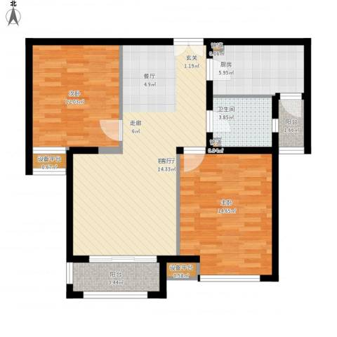 盘门路小区2室1厅1卫1厨100.00㎡户型图