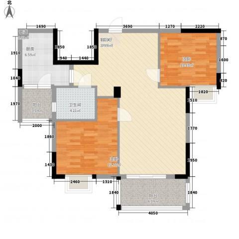 广电江湾新城2室1厅1卫1厨93.00㎡户型图