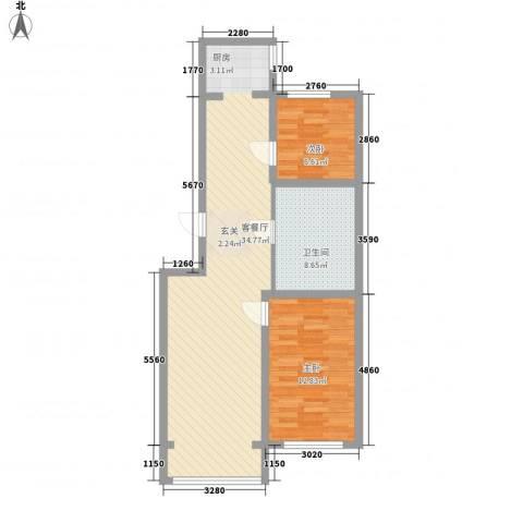 香槟小镇2室1厅1卫0厨85.00㎡户型图