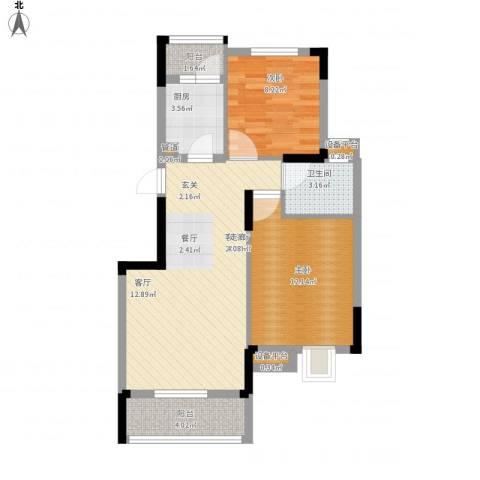 盘门路小区2室1厅1卫1厨80.00㎡户型图