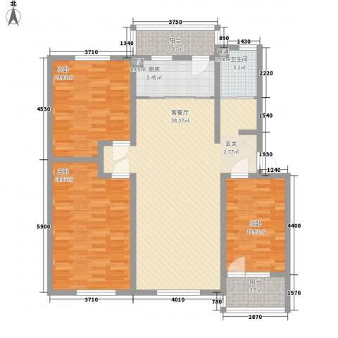 幸福泉城尚郡3室1厅1卫1厨141.00㎡户型图