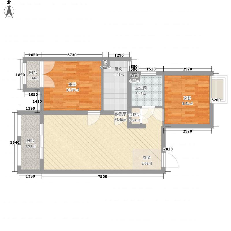 上海绿地香颂公寓84.00㎡户型2室1厅1卫1厨