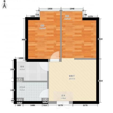 翡翠明珠1室1厅1卫1厨46.34㎡户型图