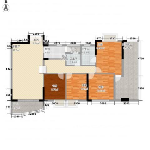 三屯花园4室1厅2卫1厨123.15㎡户型图