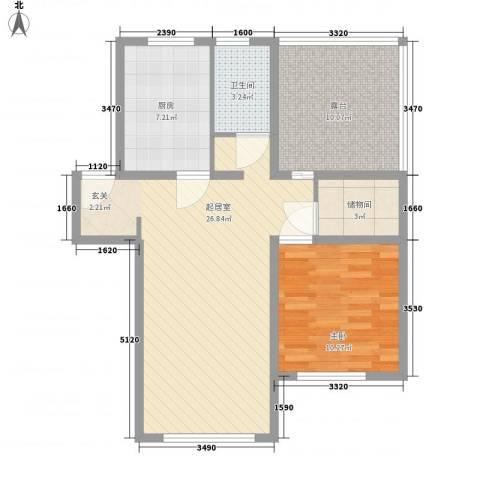 长春豪园1室0厅1卫1厨87.00㎡户型图